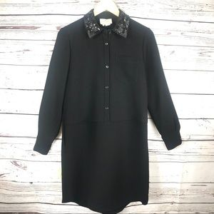 Kate Spade Sequin Collar Shirt Dress Black